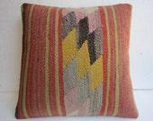 16 x 16 inch kilim pillow,turkish pillow,handwoven pillow cover,vintage pillow,authentic pillow cover,