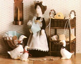 "Home Folk 846 Sewing Pattern Stuffed Toy - Nanny Goose 12"" tall and baby"
