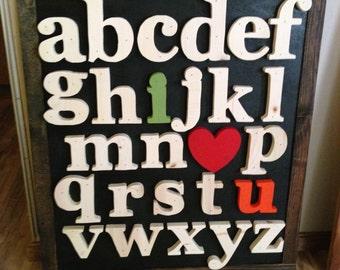 alphabet wall decor, wall hanging