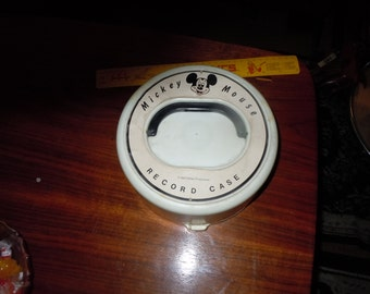 1960s Disney Mickey Mouse Record case with 17  33 1/3 RPM twelve are disney records Nice VintageCondition