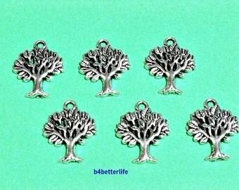 "Lot of 24pcs Antique Silver Tone ""Tree"" Metal Charms. #JL2896."