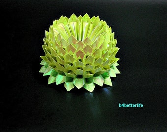 A Piece of Large Size Yellow Color Origami Lotus. 132 Petals. (AV paper series).