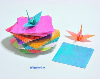 "200 Sheets 1.5"" x 1.5"" Assorted Colors DIY Chiyogami Yuzen Paper Folding Kit for Origami Cranes ""Tsuru"". (AV paper series). #CRK-43."