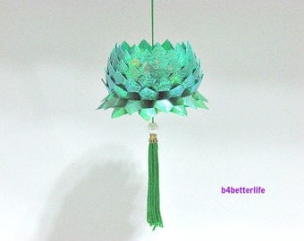 A Piece of Medium Size Cyan Color Origami Hanging Lotus. (CY paper series).