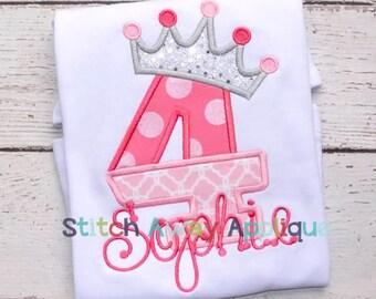 Split Princess Crown Birthday Number Set Machine Applique Design