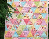 Patchwork Baby Quilt, Triangle Crib Quilt, Baby Girl Quilt, 36x42 READY TO SHIP
