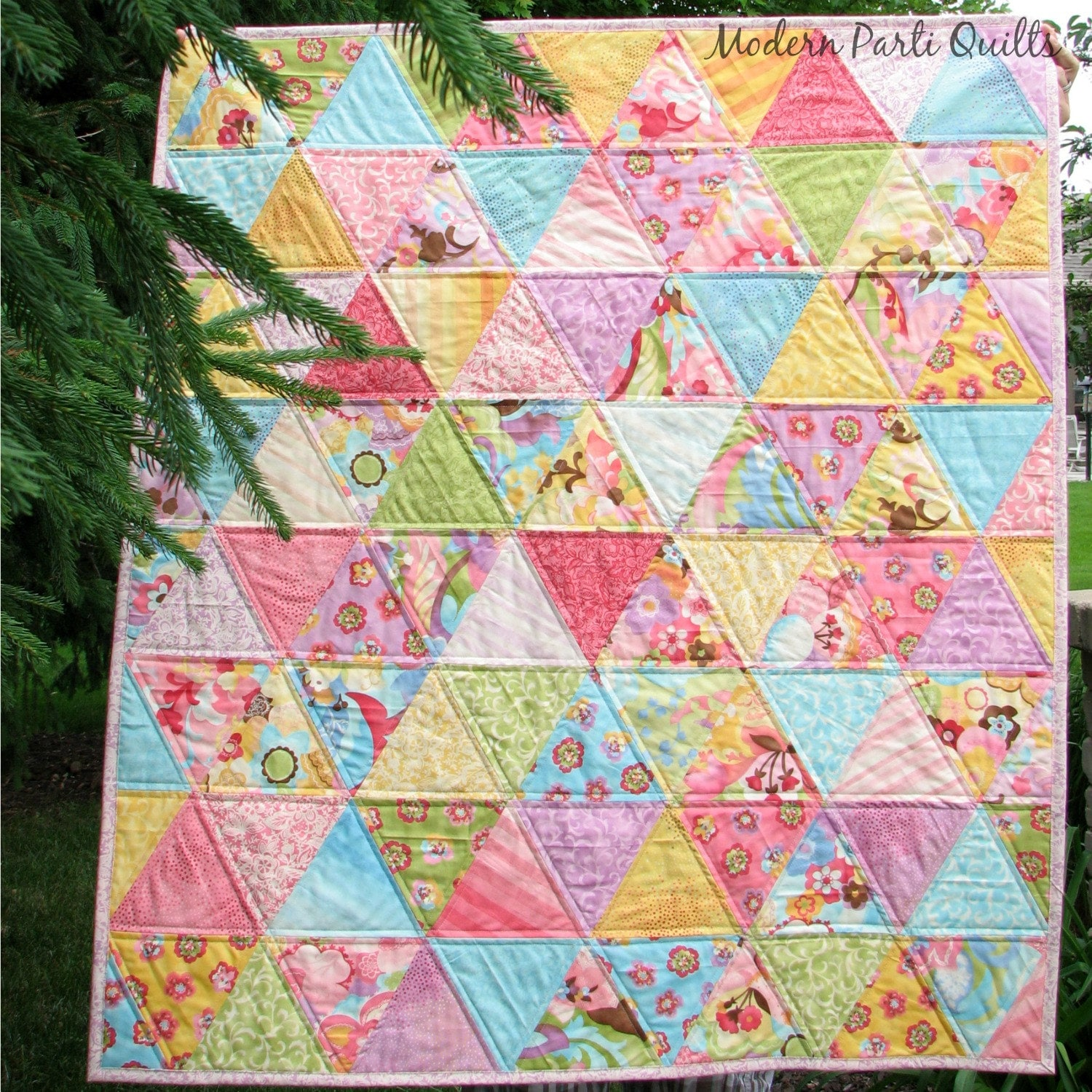 Patchwork Baby Quilt Triangle Crib Quilt Baby Girl Quilt