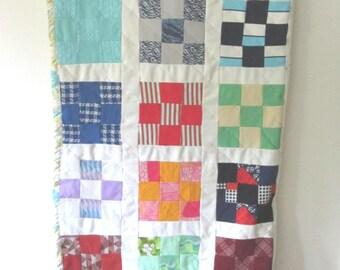70's Mod beadspread / poly knit handmade quilt / Kids dorm room spread blanket