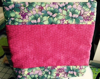 Zipper Pouch Pink Flower Cosmetic Bag