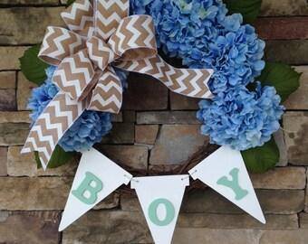 It's a Boy Wreath, Its a Boy Wreath, Baby Boy Wreath, New Baby Wreath, Blue Hydrangea Wreath, Baby Announcement Wreath, Welcome Baby Wreath