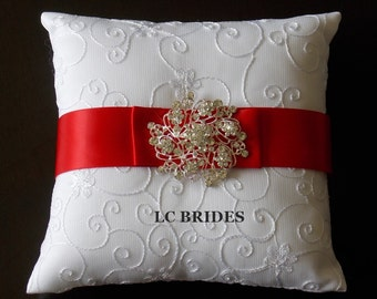 Wedding Ring Bearer Pillow Red
