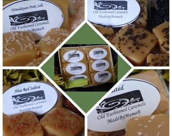 Sea Salt Sampler ~ Gift Box of 1 or 2 dozen extra creamy, gourmet,  Salted homemade caramels - Featuring Sea Salts of  the World
