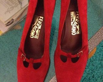 Red Suede Heels Ferragamo