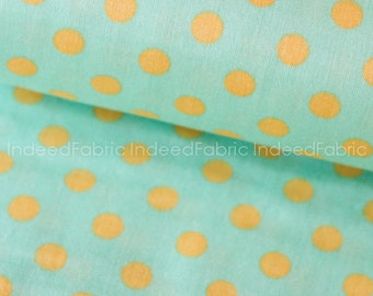 20% Off // DOUBLE GAUZE- Dotted Yellow on Green Double Gauze, Color Basic Double Gauze Collection, Lecien Japan, By the Half-Yard