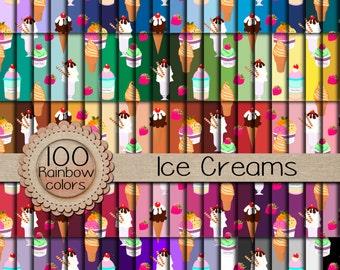 "Sale-100 Digital papers ""MEGA pack"" / Ice Creams  / 300 ppi  / instant download."