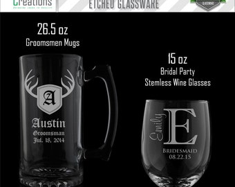 Personalized Wine Glasses, Personalized Mugs, Wedding Gifts, Etched Glasses, Set of 5+ Stemless Wine & Beer mugs, FREE SHIPPING
