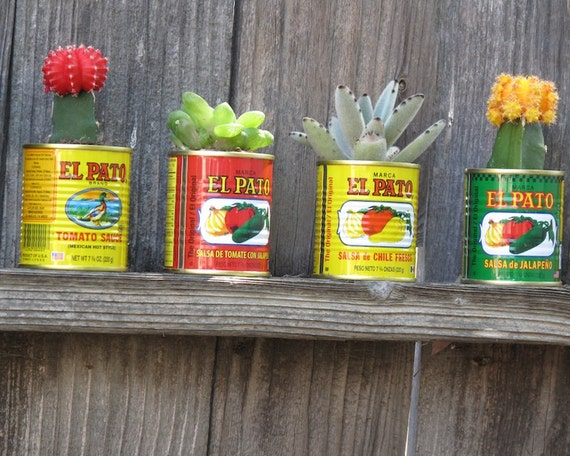 Fiesta decorations el pato 6 large metal cans by for Aluminum can decorations