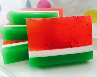 Watermelon Soap - Summer Soap - Fruit Soap - Handcrafted Glycerin Soap - Poppy Seed Soap