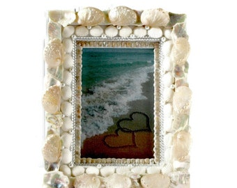 Pearl White and Jewels Seashell Picture Frame -Beach Wedding Frame