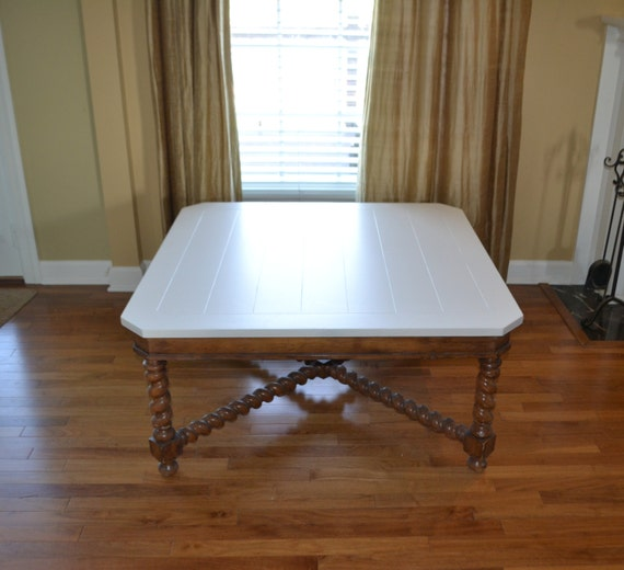 Items similar to sold coffee table wood spindle turned for Coffee table white legs wood top