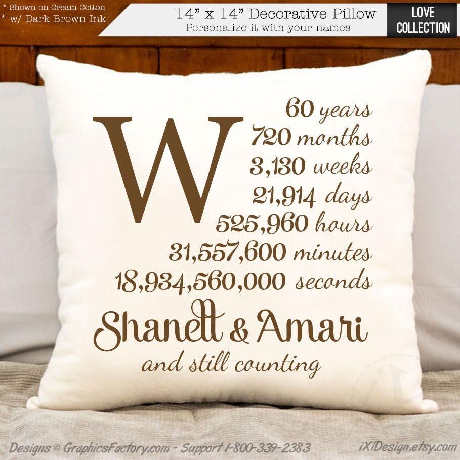 Special Gift For Wedding Anniversary: 60th Anniversary Cotton Gift Personalized Anniversary Gift