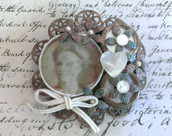 Photo Brooch with Vintage Buttons