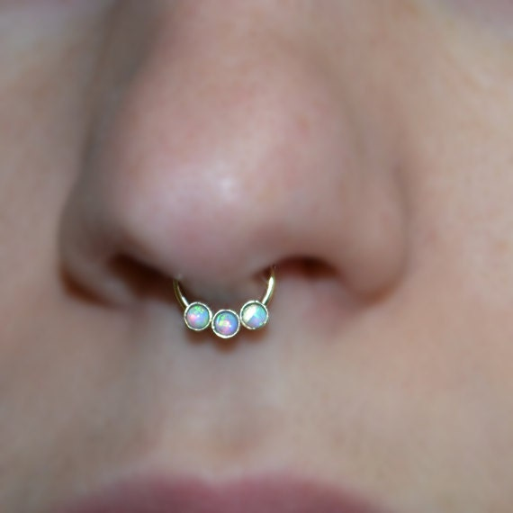 Gold Septum Ring 20g - 2mm Blue Opal Nose Hoop - Tragus Earring Hoop - Cartilage Hoop Earring - Nose Ring - Nipple Ring - Rook Jewelry