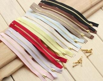 5 PCS, 20cm / 8 inch Length, Golden Zipper Sliders  (With Drop Style Zipper Pull) #090