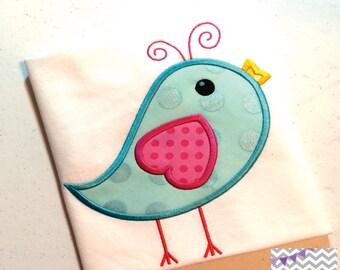 Spring Bird Applique Design, Spring Bird Machine Embroidery Applique, Spring Bird Applique Design 4x4 5x7 6x10 8x8