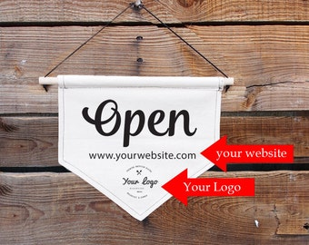 Custom Open closed canvas sign with your logo and website