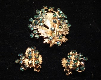 Cathe Blue Green Aurora Borealis Rhinestone Grape Pin and Earrings