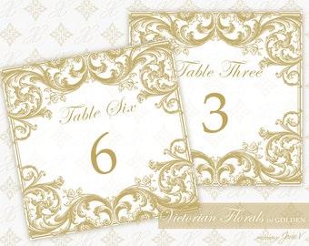 DIY Printable Wedding Table Number Template | Printable Table Number (Tent Style) | Victorian Florals in Golden