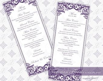 DIY Printable Wedding Menu Template | Printable Menu (tea length) | Victorian Florals in Eggplant