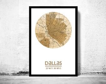DALLAS - city poster - city map poster print