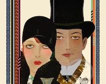 Art Deco Flapper Couple Print, Girl in Cloche hat, Man wearing Top Hat, High Fashion, Ritz, Jazz age, giclee Fine Art Print , 11x14, 1921