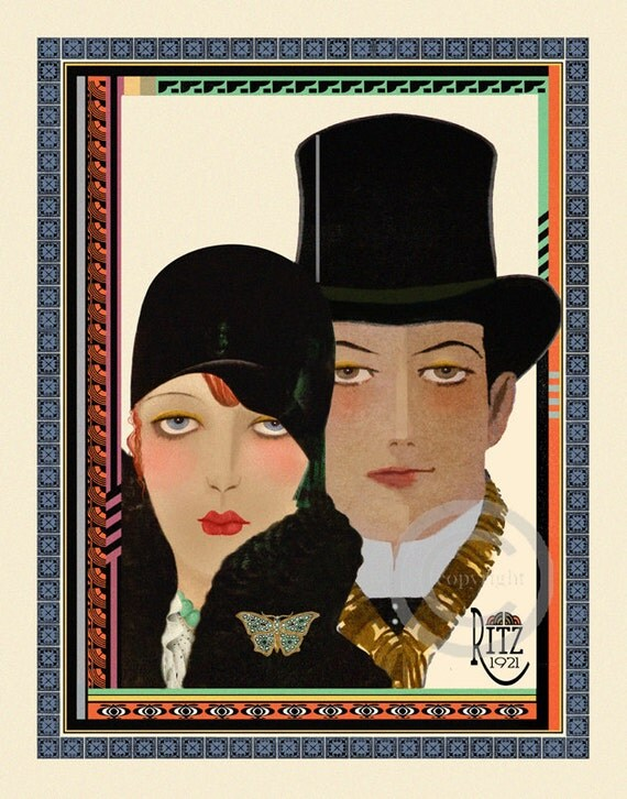 Art Deco Flapper Couple Print, Girl in Cloche hat, Man wearing Top Hat, High Fashion, Ritz, Jazz age, giclee Fine Art Print , 11x14, 1921