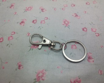 100pcs silver gray color key clasp with 1 inch key ring , CC3143-100