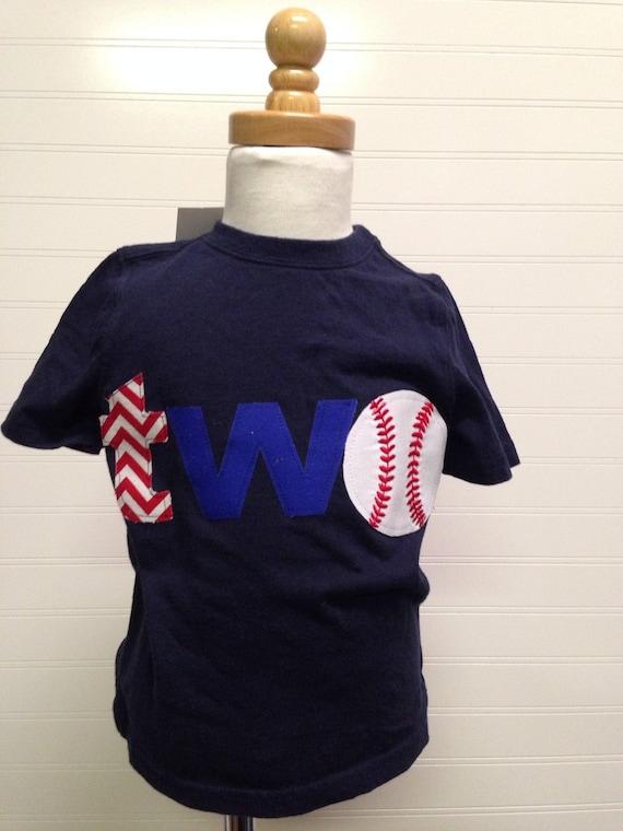 Two baseball shirt, 2nd birthday shirt, second birthday baseball theme shirt, Sports birthday theme shirt, boys clothing, royal blue and red
