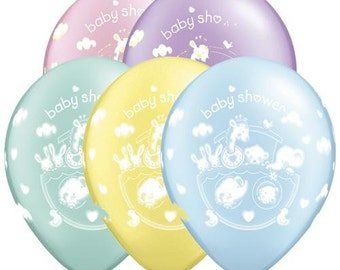 Baby Shower Balloons Pastel Assortment, Boy Baby Shower Balloons, Girl Baby Shower Balloons