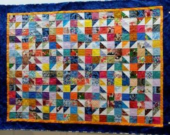 Patchwork Quilt, colourful patchwork scrappy quilt, lap quilt, single bed topper, throw quilt