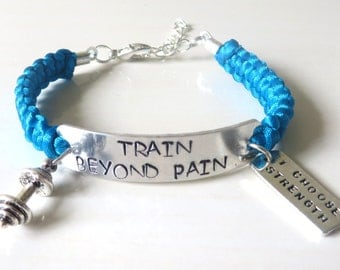 Train Beyond Pain Barbell Weightlifter Bodybuilder Fitness Trainer I Choose Strength Training Charm Bracelet You Choose Your Cord Color(s)