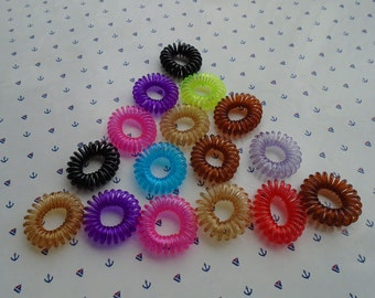 100pcs mixed color elastic hair ties ponytail holders telephone line ponytail holders , H2359