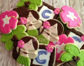 Luau Hula girl Hawaiian themed decorated cookies palm trees hibiscus