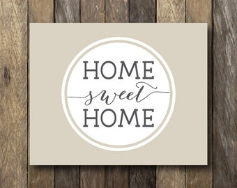 Printable Home Sweet Home - Instant Download - Beige Wall Art - Home Sweet Home Printable - Entryway Print - Beige Home Decor - Entryway Art