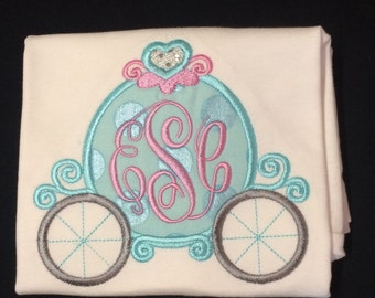 Baby Girl's Appliqued Bodysuit, Appliqued Princess Carriage, Personalized, Monogrammed Princess Carriage Bodysuit