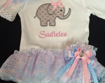 Newborn Baby Girl  Monogrammed Appliqued  Elephant Baby Girl Clothes Lace Tutu Bodysuit Baby Girl Headband Coming Home Outfit