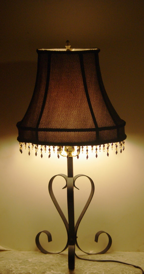 black wrought iron table lamp with black octagonal beaded. Black Bedroom Furniture Sets. Home Design Ideas