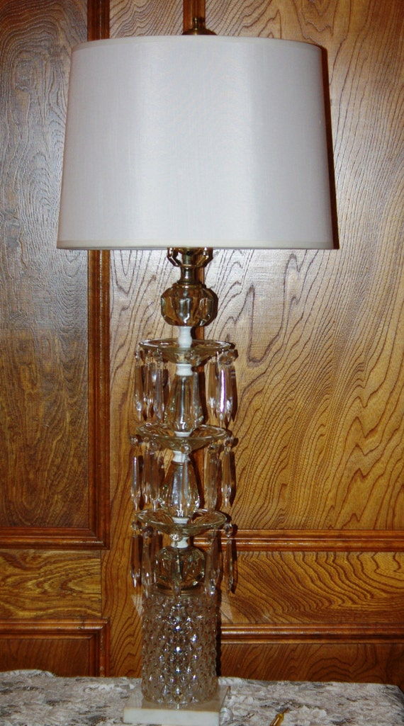 large upcycled crystal table lamp 3 tier by suzscollectibles. Black Bedroom Furniture Sets. Home Design Ideas
