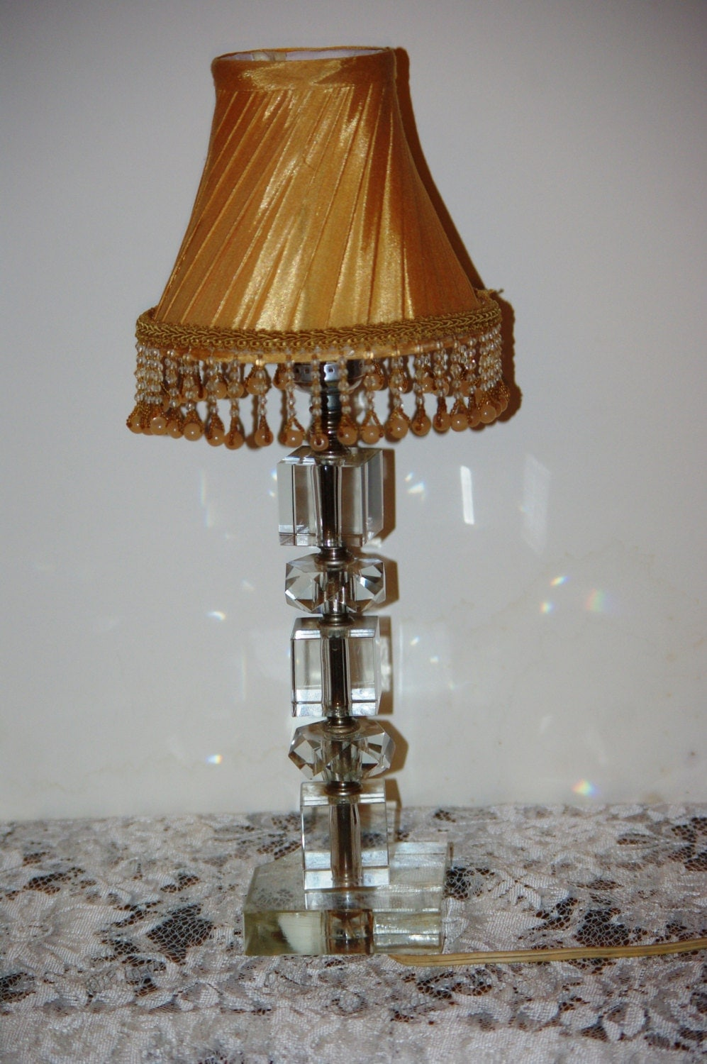 vintage crystal bedroom or night light table lamp with yellow