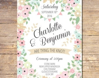 Country Floral Wedding Invitation Suite, Rustic Wedding Invitation, Spring Floral Invitation, RSVP, Modern Wedding Stationery {DEPOSIT}
